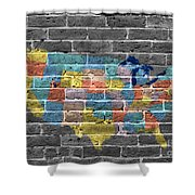 Graffiti  Map Of The United States Of America Shower Curtain