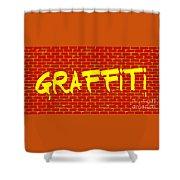 Graffiti Red Wall Shower Curtain