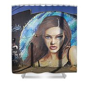 Graffiti Street Art Mural Around Melrose Avenue In Los Angeles, California  Shower Curtain
