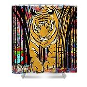 Graffiti Tiger Shower Curtain by Sassan Filsoof