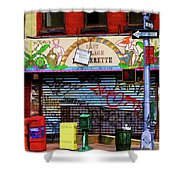 Graffiti Village Store Nyc Greenwich  Shower Curtain