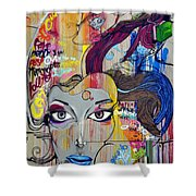 Graffiti Woman Face Shower Curtain