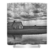 Grain Barn And Sky - Reflection Shower Curtain