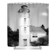 Grainy Lighthouse Shower Curtain