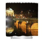 Gran Madre Church By Night In Turin, Italy Shower Curtain