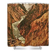Grand Canyon Of The Yellowstone Vertical Panorama Shower Curtain