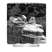Grand Canyon Snow Black And White Photo Shower Curtain