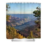 Grand Canyon View With Trees Shower Curtain