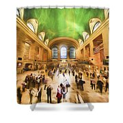 Grand Central Rush     Go2 Shower Curtain