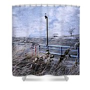 Grand Haven Channel With Winter Waves  Shower Curtain