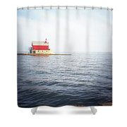 Grand Haven Lighthouse From North Pier Shower Curtain