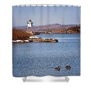 Grand Marais Breakwater Lights Shower Curtain