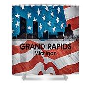 Grand Rapids Mi American Flag Squared Shower Curtain