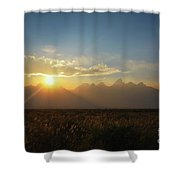 Grand Teton Open Plains Sunset Shower Curtain