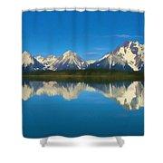 Grand Teton Reflection Wood Texture Shower Curtain