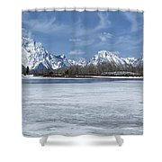 Grand Tetons And Snake River From Oxbow Bend 16-9 Shower Curtain