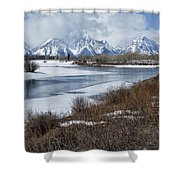 Grand Tetons From Oxbow Bend Shower Curtain