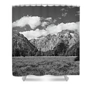 Grand Tetons In Black And White Shower Curtain
