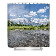 Grand Tetons On A Sunny Day Shower Curtain by Margaret Pitcher