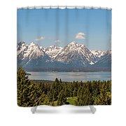 Grand Tetons Over Jackson Lake Panorama Shower Curtain