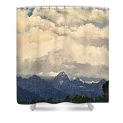 Grand Tetons  Sky Shower Curtain by Suzette Kallen