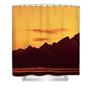 Grand Tetons Sunset Shower Curtain