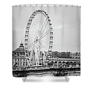 Grande Roue In Paris - Black And White Shower Curtain