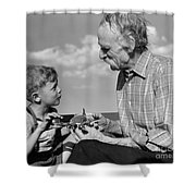 Grandfather And Boy With Model Plane Shower Curtain