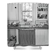 Grandma's Kitchen B W Shower Curtain