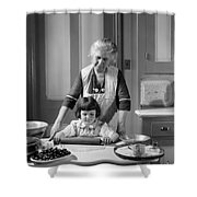 Grandmother And Granddaughter Baking Shower Curtain