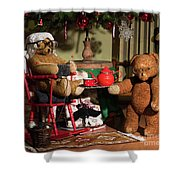 Grandpa And Grandma Teddy Bears' Christmas Eve Shower Curtain