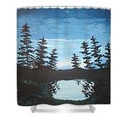 Grandpa's Piney Pond Shower Curtain