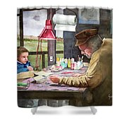 Grandpa's Workbench Shower Curtain by Sam Sidders