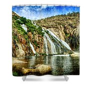 Granite Mountain Waterfall - Vintage Version Shower Curtain