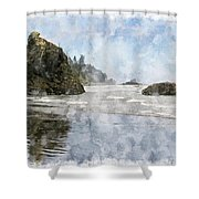 Granite Stacks Olympic Park Shower Curtain