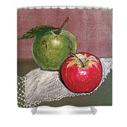 Granny Smith With Pink Lady Shower Curtain