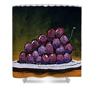 Grapes On A White Plate Shower Curtain