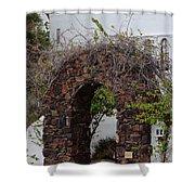 Grapevine Covered Stone Garden Door Shower Curtain