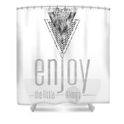 Graphic Art Enjoy The Little Things - Silver Shower Curtain