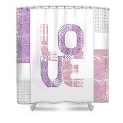 Graphic Art Gold Love - Rose And Violet Shower Curtain