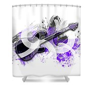 Graphic Art Guitar - Purple Shower Curtain