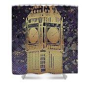 Graphic Art London Big Ben - Ultraviolet And Golden Shower Curtain