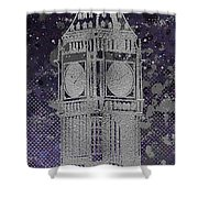 Graphic Art London Big Ben - Ultraviolet And Silver Shower Curtain