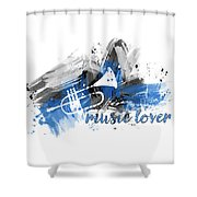 Graphic Art Music Lover - Blue Shower Curtain