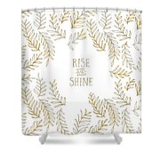 Graphic Art Rise And Shine - Gold And Marble Shower Curtain