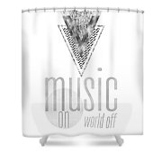 Graphic Art Silver Music On - World Off Shower Curtain
