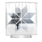 Graphic Art Snowflake Lonely Tree Shower Curtain