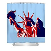 Graphic Statue Of Liberty Red White Blue Shower Curtain