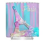 Graphic Style Paris Eiffel Tower Pink Shower Curtain by Melanie Viola