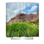 Grass Along John Day River In Central Oregon Shower Curtain